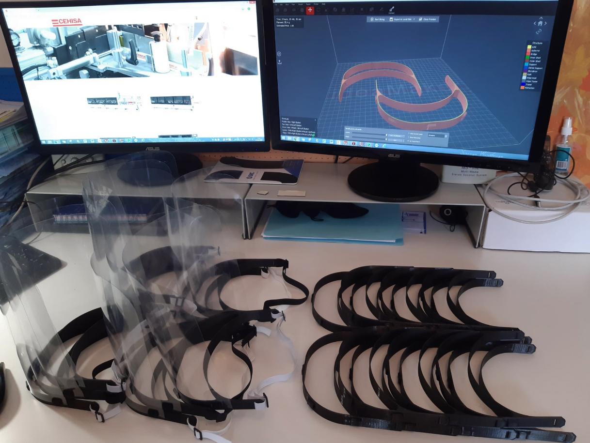 CEHISA fabrica pantallas faciales protectoras con sus impresoras 3D